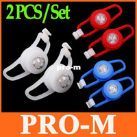 Wholesale 2 Pieces set Cycling Bike Bicycle Silicone Tail Rear Light Safety Warning Lamp with Retail Package