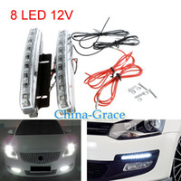 Wholesale 8 LED Super Bright White DRL Car Daytime Running Light Head Lamp Universal Waterproof Day Lights E4
