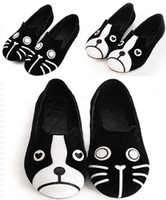 Wholesale Cat Dog Velvet Shoes - Women Flat Casual Shoes Velvet Black Loafers Dogs And Cat Pattern Shoes