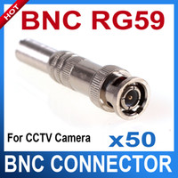 Wholesale 50 CCTV RG BNC Male Connector to Coaxial Cable F79 cctv accessories