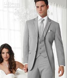 Wholesale New Suits for Men Light Grey Groom Tuxedos Notch Lapel Groomsmen Men Wedding Suits Jacket Pants Tie Vest H457