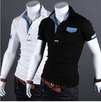 Men Cotton Polo 2013 New Fashion Summer clothing Denim mix casual short sleeve Button men's POLO shirts 2632