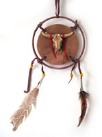 Wholesale indian feather dream catcher inch beige brown cow head native American crafts per