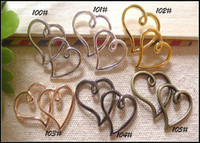 Wholesale 30PCS Double Heart Shape Sideways Wax Bracelet Connector Beads Charms Jewelry Findings