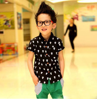 Wholesale Boys Skull Printed Casual Shirts Child Shirt Children Clothing Fashion Summer Short Sleeve T Shirts