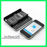 Wholesale New Wireless Bluetooth thin Slide out Keyboard Case for iPhone S White Black