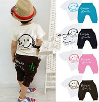 Wholesale Kids set summer Short sleeve set Multicolor Children clothing suit Smiling face t shirt pants