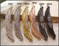 Copper beads connectors - 30PCS Rhinestone Crystal Angel Wing Shape Sideways Bracelet Connector Beads Charms Jewelry Fittings