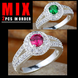 2PCS MIX ORDER GOOD PRICE Lady Round Red Ruby Green Emerald Promise Silver Ring Wed Size 7 K155R130