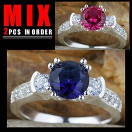 2PCS MIX GOOD PRICE Ladies 3-Stone Blue Sapphire Red Ruby Wedding Silver Ring Wed Size 7 K157R132