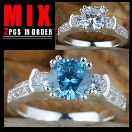 MIX 2PCS LOW PRICE Women Silver Ring 3-Stone White Topaz Blue Topaz K156R132 Size 6
