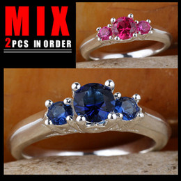 MIX 2PCS LOW PRICE Women Silver Ring Three-stone Blue Sapphire Red Ruby K158R134 Size 6