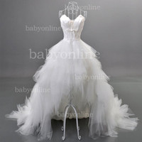 feather balls - 2013 Sexy Sweetheart Strapless Hi Lo Feather White Ball Gown Wedding Dresses Bridal Gown BO0378