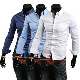 Wholesale high quality New Hot Mens Shirts Casual Slim Fit Stylish Dress Shirts Men Slim shirt