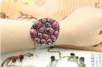 Wholesale Western Bracelet Retro Flower Image Magnetic Closure Mix Color D2