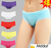 Wholesale 2013 NEW fashion Modal ladies underwear Low waist Pure color Bud silk lace panties