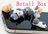 Cheap Cute Cheese Cat 3.5mm Jack Anti Dust Cap Plugs Earphones and Headphones for iPhone 5 Cell Phone