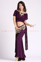 Belly Dancing Sequin Cotton belly dance dancing tassels tops+tribal pants skirt+coins hip scarf costume 3pcs set stage wear set