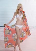 Wholesale Hot sales Orange sunflower High grade chiffon scarves veil sarongs western style beach towel