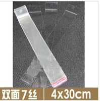 Wholesale Self adhesive Plastic opp bags cellophane bag for hair extension retail packaging with hanging hole