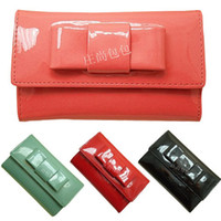 Wholesale Personalized candy color small bow medium long genuine leather japanned leather Women wallet girls wallet multicolor