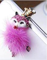 al por mayor fox encanto del teléfono-Diamante de Visón Fox Encanto Enchufe Anti del Polvo del Auricular Polvo Plug Tapón conector Jack de 3.5 mm Enchufe de la correa del teléfono