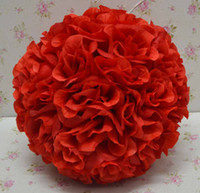 Wedding   Free shipping 30cm*10pcs Rose kissing ball artificial silk flower wedding party red color weddng
