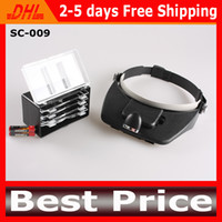 Wholesale 4 Lenses Magnifier Headset LED Light Lamp Head Band Set x Lighted Magnifying Glass