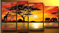 Wholesale Hand painted landscape oil painting on canvas giraffe and elephants by lake in the sunrise set
