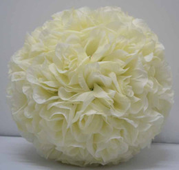 Ivory color beige color Free shipping 25cm*12pcs Rose kissing ball artificial silk flower wedding party decoration cream ivory