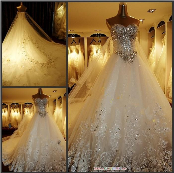 2016 Luxurious Crystal Wedding Dresses A Line Sweetheart Beaded ...