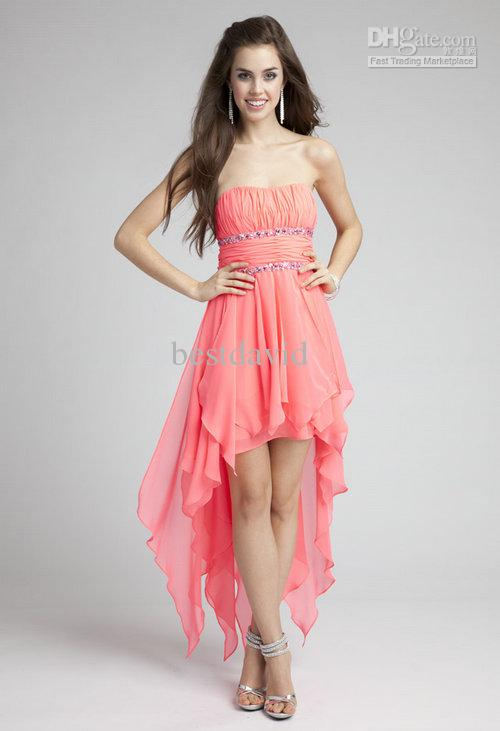 Cheap Strapless Chiffon High Low Party Dresses Empire Double ...