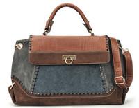 animal print handbags - 2013 Newest Vintage multicolor splicing crocodile bag Women s lady shoulder handbag bag black blue