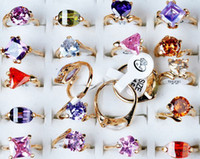 Wholesale Jewelry Big Colorful Crystal Rhinestone Gold P Gifts rings CZ36