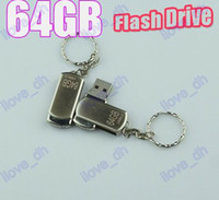 Wholesale 64GB Swivel metal Key Chain Custom USB Flash Memory Pen Drives Sticks Disks Pendrives Good C085G