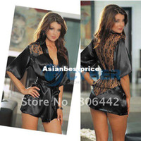 Wholesale Sexy Lingerie Black Satin Sleepwear Lace Detail Robe and G String