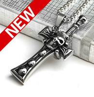 Wholesale Punk Jewelry skull Sword Men s Pendant Necklace Stainless Steel Necklaces Vintage Jewelry