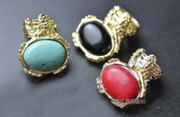 Wholesale Classical Retro Gemstone Rings Three Colors Exaggeration Oval Gem Solitaire Ring HS