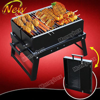 Wholesale Glee Portable Steel Folding Charcoal Grill Burning Rack for BBQ Black