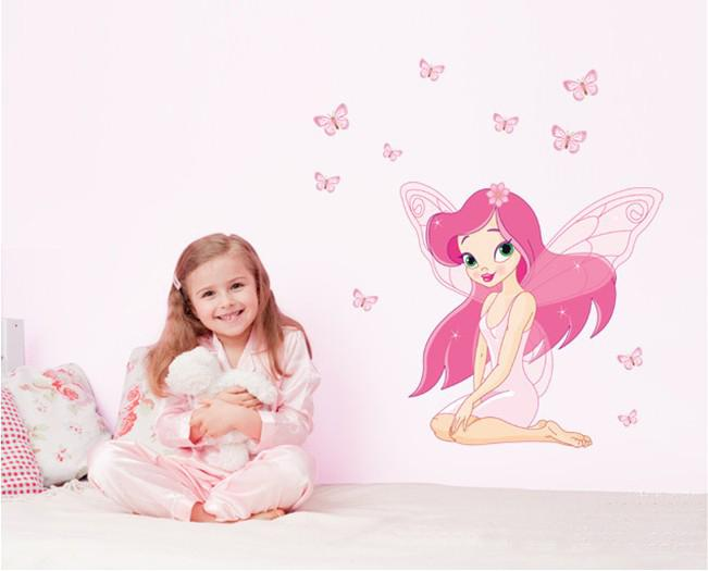 Hot Sale Removable Flower Fairy Wall Decor Nursery Wall Stickers Decals Girls Room Wall Decals
