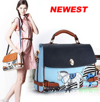 Wholesale 2013 Newest fashion noble bean pole horse bag Women s lady shoulder handbag bag Blue Beige