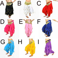 Belly Dancing Sequin Chiffon 2013 New Belly Dance Tribal Costume Gold Silver Trim Wavy Harem Pants Skirt Elatic Waist