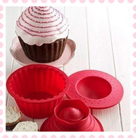 big cupcake - 3x Cupcake Cake Mould Giant Silicone Big Top Cupcake Bake Baking Mold Set