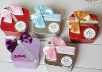 Wholesale 2013 colorful bowknot square charm iron tin Favor Candy Boxes Wedding Bridal Party Gift hold bag