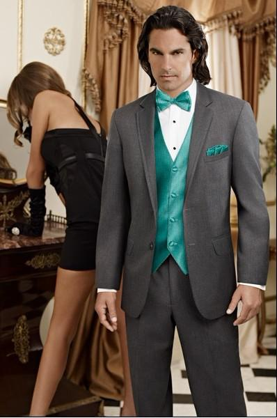 New Charcoal Grey Groom Tuxedos Notch Lapel Groomsmen Men Wedding ...