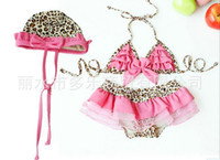 Wholesale Baby girls bikini swimsuit split split Leopard Swimwear Gift cap Swimsuit BEACH BABY Swimsuits