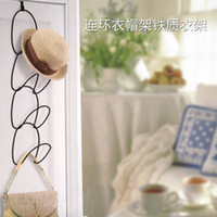 Wholesale Serial wrought iron wall coat rack door kitchen cabinet scarf bags glove storage rack
