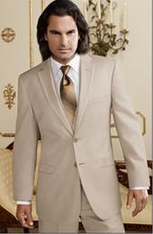 Hot Sale Beige Groom Tuxedos Notch Lapel Groomsmen Men Wedding Suits(Jacket+Pants+Tie+Vest)H527