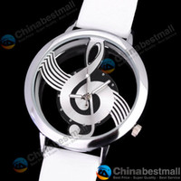 Wholesale Novelty Musical Note Dial Quartz Movement Watch with PU Leather White and silvery