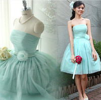 Wholesale 2014 Strapless chiffon Homecoming party cocktail dress empire design cheap low price